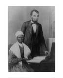 US President Abraham Lincoln at the White House in 1861 with Sojourner Truth