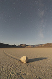 Sliding Stone of Racetrack Playa  Taken at Night by Moonlight  with Milky Way  Death Valley  USA