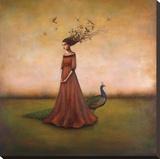 Empty Nest Invocation - L'invocation du nid abandonné : femme au paon Tableau sur toile par Duy Huynh