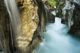 River Soca Flowing Through Velika Korita with Waterfalls  Triglav National Park  Slovenia  June