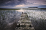 Lake Usma Viewed from a Mooring Stage on Moricsala Island with Dark Clouds  Moricsala  Latvia