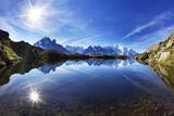 Lacs Des Cheserys with Aiguilles De Chamonix  Haute Savoie  France  Europe  September 2008