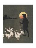 Boy Hearding Geese at Sunset