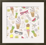 Cute Summer Abstract Pattern Seamless Pattern With Ice Creams  Sunglasses  Fruits  Stars