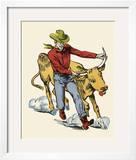 Cowboy Wrestling a Steer