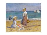 Silhouettes aux ombrelles sur la plage de Trouville par vent fort Giclée par Pierre-Auguste Renoir