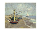 Fishing Boats on the Beach at Les Saintes-Maries-De-La-Mer Giclée par Vincent Van Gogh