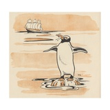 Illustration of Penguin Eating Fish