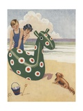 Illustration of Dog Frightened by Inflatable Beach Toy