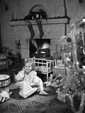 1950s Smiling Little Girl Christmas Tree Talking on Toy Telephone