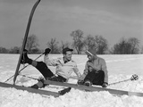 1930s Couple Man and Woman on Skis Falling in Snow Laughing