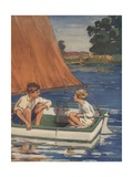 Illustration of Children in Sailboat