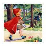 Little Red Riding Hood and Big Bad Wolf in Woods