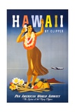 Pan Am Poster with Hawaiian Hula Dancer
