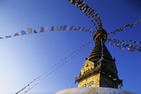 Prayer Flags Hanging from Swayambhunath Stupa
