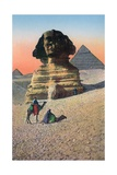 Men on Camels in Front of the Sphinx and Pyramids