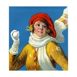 Smiling Woman Holding Snowball