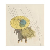 Japanese Couple Walking in Rain