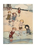 Illustration of Children Playing at Beach