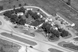 Aerial View of Roadside Motel and Gas Station in Indiana  Ca 1950
