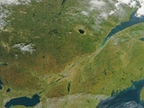Satellite Image of Eastern Canada with Fall Colors