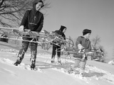 1960s Three Boys Holding Sleds Looking Downhill