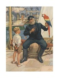 Little Boy Talking to Sailor with Parrot