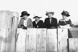 Four Adult Sisters Pose Along a Fence  Ca 1910