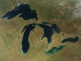 Satellite Image of the Great Lakes in Early Spring