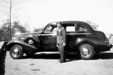 Mature Man with His New Automobile  Ca 1940