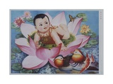 Chinese New Year's Poster with Baby in Lotus Blossom