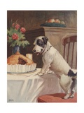 Illustration of Dog Eyeing Pie on Table