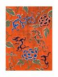 Woodblock Print of Dragon Motifs and Chrysanthemum Blossoms