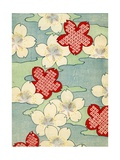 Woodblock Print of Dogwood Blossoms