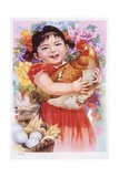 Chinese New Year's Poster with Girl Holding Chicken