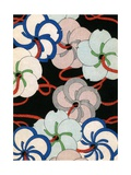 Woodblock Print of Colorful Blossom Ornaments