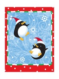 Two Penguins in Santa Hats Playing in the Snow