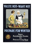 Waste Not - Want Not  Prepare for Winter Poster