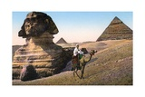 Man Riding a Camel in Front of the Sphinx and Pyramids