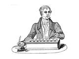 Clerk Using a Pascal Adding Machine