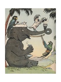 Illustration of Elephant and Parrots Having Afternoon Tea