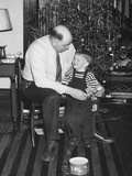 Father and Son Enjoy Christmas Morning  Ca 1950