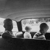 Three Children Ride in the Back of a Car  Ca 1962