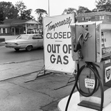 1970s Gas Pump with Temporarily Closed Sign