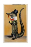 Postcard of Alligator in Top Hat and Bow Tie