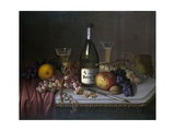 Still Life with a Bottle of Champagne and Two Glasses  with Various Fruit