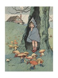 Illustration of Girl Watching Goblins Sitting under Mushrooms