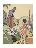 Illustration of Girl Looking at Cat Sitting on Fence