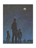 Father and Children Looking at Moon and Stars
