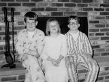 Siblings Pose on the Hearth in Pajamas  Ca 1970